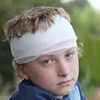 Child with bandage